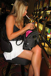 Amazing sexy blonde public smoking