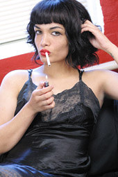 Exciting glamour brunettes smoking