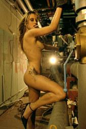 Repairing car nude and smoking